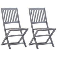 vidaXL Сгъваеми градински столове, 2 бр, акация масив
