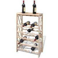 vidaXL Стойка за вино за 25 бутилки, ела масив