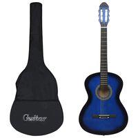 """vidaXL Класическа китара за начинаещи с калъф, синя, 4/4, 39"""""""