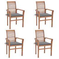 vidaXL Трапезни столове, 4 бр, със сиви възглавници, тик масив