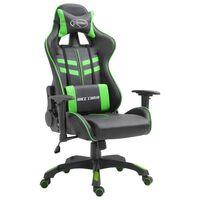 vidaXL Геймърски стол, зелено, изкуствена кожа