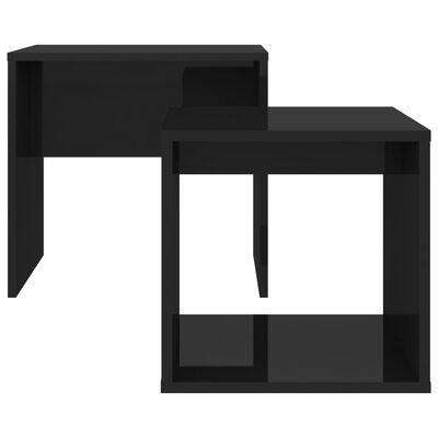 vidaXL Комплект маси за кафе, черен гланц, 48x30x45 см, ПДЧ