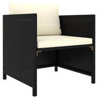 vidaXL Градински диван с възглавници, черен полиратан