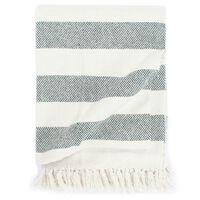 vidaXL Декоративно одеяло, памук, ивици, 220x250 см, тъмнозелено