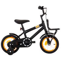 vidaXL Детски велосипед с преден багажник, 12 цола, черно и оранжево