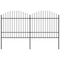 vidaXL Градинска ограда с пики, стомана, (1,5-1,75)x3,4 м, черна