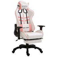 vidaXL Геймърски стол с подложка за крака, розово, изкуствена кожа