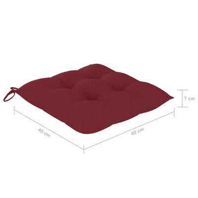 vidaXL Възглавници за столове 4 бр виненочервени 40x40x7 см плат