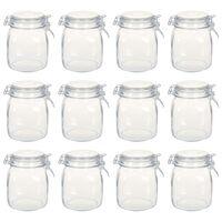 vidaXL Стъклени буркани с механизъм за затваряне, 12 бр, 1 л