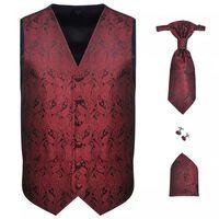 Мъжка жилетка за сватба, комплект, пейсли мотив, размер 48, бордо