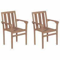 vidaXL Стифиращи градински столове, 2 бр, тиково дърво масив