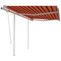 vidaXL Ръчно прибиращ се сенник с прътове 3,5x2,5 м оранжево и кафяво