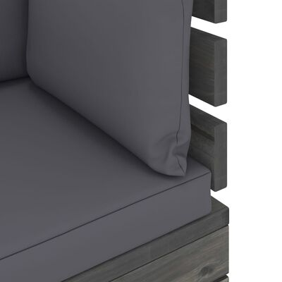 vidaXL Градински палетен лаундж комплект, 6 части, с възглавници, бор