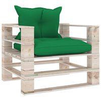 vidaXL Градински палетен диван със зелени възглавници, борово дърво