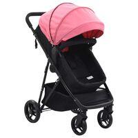 vidaXL Детска/бебешка количка 2-в-1, розово и черно, стомана
