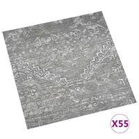 vidaXL Самозалепващи подови дъски, 55 бр, PVC, 5,11 м², бетонно сиви