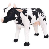 vidaXL Плюшена детска кравичка за яздене, черно и бяло, XXL