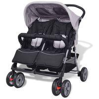 vidaXL Бебешка количка за близнаци, стомана, сиво и черно