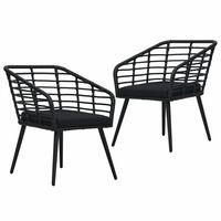 vidaXL Градински столове с възглавници, 2 бр, полиратан, черни