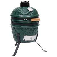 vidaXL 2-в-1 Камадо барбекю грил опушвач, керамично, 56 см, зелено