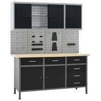 vidaXL Работна маса с четири стенни панела и два шкафа