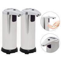 vidaXL Автоматични дозатори за сапун, 2 бр, инфрачервен сензор, 600 мл