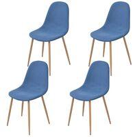 vidaXL Трапезни столове, 4 бр, сини, текстил