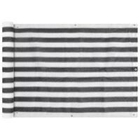vidaXL Балконски екран, HDPE, 75x600 см, антрацитно сиво и бяло