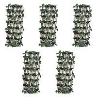 vidaXL Върбови огради хармоника, 5 бр, с изкуствени листа, 180x30 см