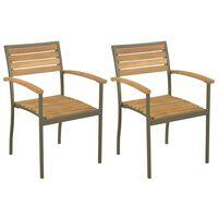 vidaXL Стифиращи външни столове, 2 бр, акациево дърво масив и стомана