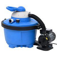 vidaXL Пясъчна филтърна помпа синьо и черно 385x620x432 мм 200 W 25 л