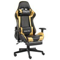 vidaXL Въртящ геймърски стол с подложка за крака, златист, PVC