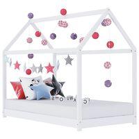 vidaXL Рамка за детско легло, бяла, бор масив, 80x160 см