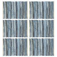 vidaXL Подложки за хранене, 6 бр, Chindi, деним сини, 30x45 см, памук