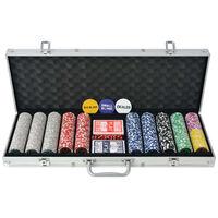 vidaXL Покер комплект с 500 лазерни чипа, алуминий