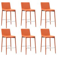 vidaXL Бар столове, 6 бр, оранжеви, изкуствена кожа