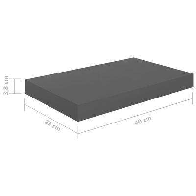 vidaXL Окачени стенни рафтове, 2 бр, сив гланц, 40x23x3,8 см, МДФ