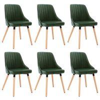 vidaXL Трапезни столове, 6 бр, тъмнозелени, кадифе