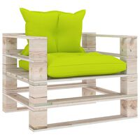 vidaXL Градински палетен диван, светлозелени възглавници, борово дърво