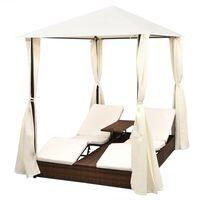 vidaXL Плажна шатра със завеси, полиратан, кафява