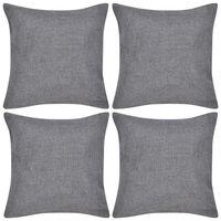 vidaXL Калъфки за възглавници, 4 бр, ленен вид, 50x50 см, черни
