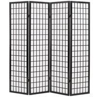 vidaXL Параван за стая, 4 панела, японски стил, 160х170 cм, черен