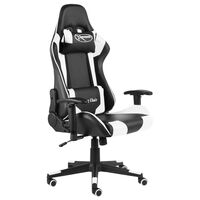 vidaXL Въртящ геймърски стол, бял, PVC