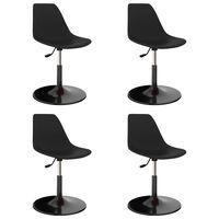 vidaXL Въртящи се трапезни столове, 4 бр, черни, PP
