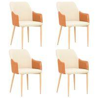 vidaXL Трапезни столове, 4 бр, кафяво и кремаво, текстил