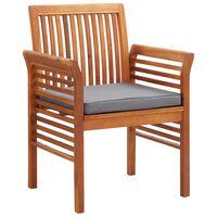 vidaXL Градински трапезни столове с възглавници, 3 бр, акация масив