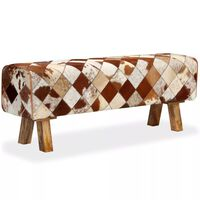 vidaXL Пейка, естествена волска кожа, ромбоиден дизайн