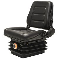 vidaXL Седалка за мотокар и трактор, с въздушно окачване, черна