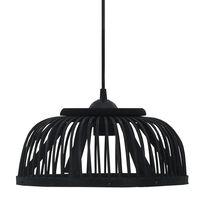 vidaXL Пендел, черен, бамбук, 40 W, 34x14,5 см, полукръг, E27