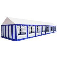 vidaXL Градинска шатра, PVC, 6x14 м, синьо и бяло